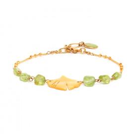 bracelet péridot et chaîne Ginkgo - Nature Bijoux