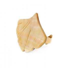 grande bague nacre dorée Ginkgo - Nature Bijoux