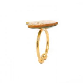 Petite bague nacre dorée Ginkgo - Nature Bijoux