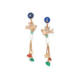 bird & pearl multi dangle earrings Kali - Nature Bijoux