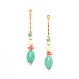 oval turquoise bead long earrings Kali - Nature Bijoux