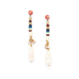 longues boucles d'oreilles perles de culture Kali - Nature Bijoux