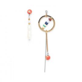 boucles d'oreilles asymétriques perle de culture Kali - Nature Bijoux