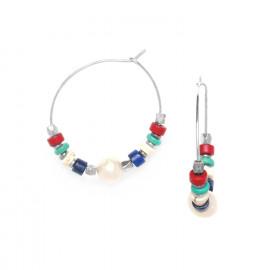 boucles d'oreilles créoles heishi et perles de culture Kali - Nature Bijoux