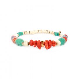 bracelet extensible orange turquoise et blanc Kali - Nature Bijoux