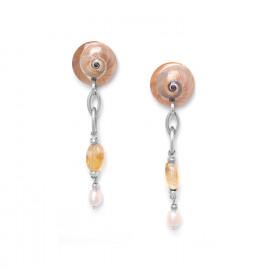 boucles d'oreilles citrine & perle de culture Makatea - Nature Bijoux