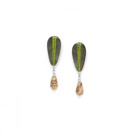 boucles d'oreilles goutte de jaspe Mambe - Nature Bijoux