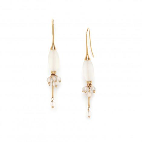 boucles d'oreilles grappe & olive de cristal de roche Ombre et lumiere