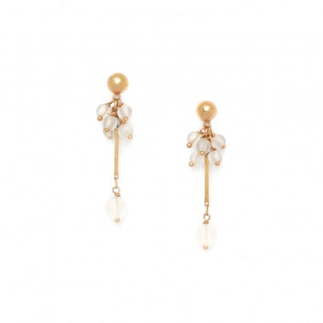 boucles d'oreilles grappe de cristal de roche Ombre et lumiere