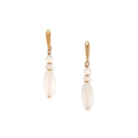 boucles d'oreilles olive de cristal de roche Ombre et lumiere