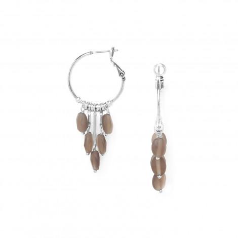 boucles d'oreilles créoles quartz fumé Ombre et lumiere