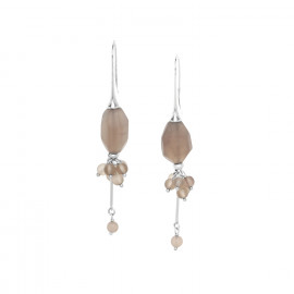 boucles d'oreilles grappe de quartz fumé sur crochet Ombre et lumiere - Nature Bijoux