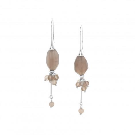 boucles d'oreilles grappe de quartz fumé sur crochet Ombre et lumiere