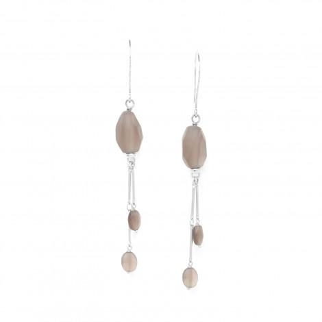 boucles d'oreilles quartz fumé et 2 chaînes Ombre et lumiere