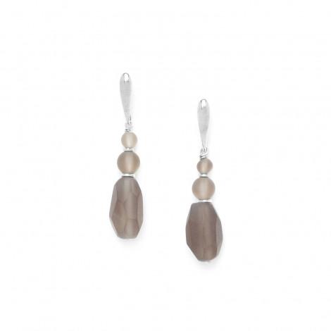boucles d'oreilles olive de quartz fumé Ombre et lumiere