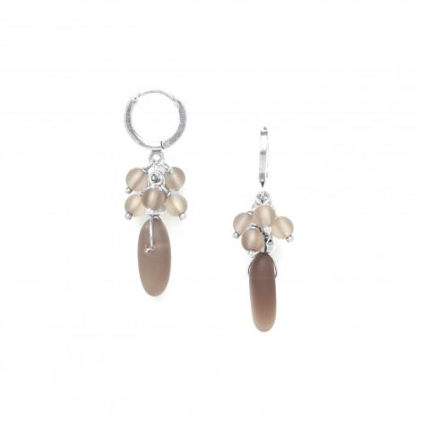 boucles d'oreilles mini créoles quartz fumé Ombre et lumiere