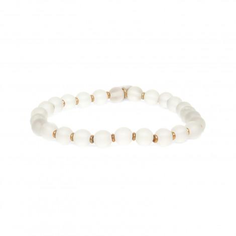 bracelet extensible perles cristal de roche Ombre et lumiere