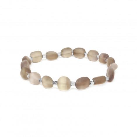 bracelet extensible olives de quartz fumé Ombre et lumiere
