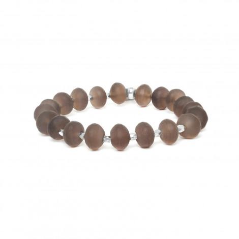 bracelet extensible en quartz fumé faceté Ombre et lumiere