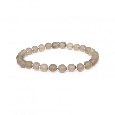 smoky quartz round bead stretch bracelet Ombre et lumiere