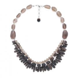 collier 3 rangs quartz fumé Ombre et lumiere - Nature Bijoux