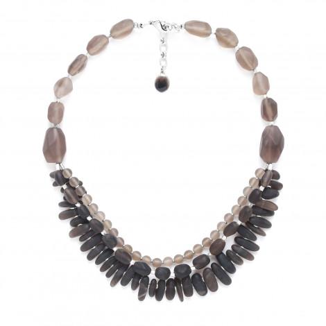 smoky quartz 3 row necklace Ombre et lumiere