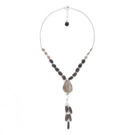 collier quartz fumé avec pendentif Ombre et lumiere - Nature Bijoux