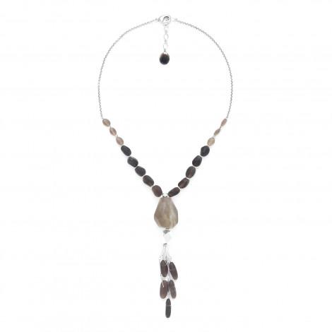 collier quartz fumé avec pendentif Ombre et lumiere