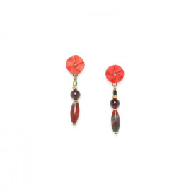 boucles d'oreilles top fleur en coco Pigments - Nature Bijoux
