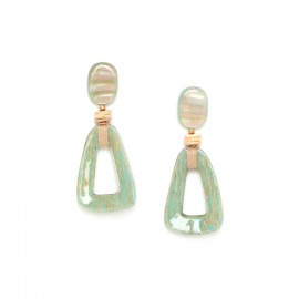 papaya earrings with paua top Seychelles - Nature Bijoux