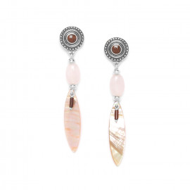 boucles d'oreilles paua et quartz rose Terre douce - Nature Bijoux