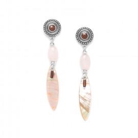 paua & rose quartz earrings Terre douce - Nature Bijoux
