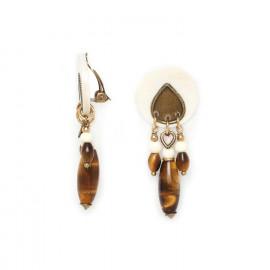 boucles d'oreilles clips trois pampilles Varanasi - Nature Bijoux