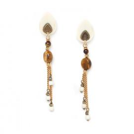 boucles d'oreilles trois chaînes Varanasi - Nature Bijoux