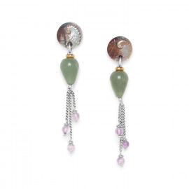 3 chain earrings Water lily - Nature Bijoux