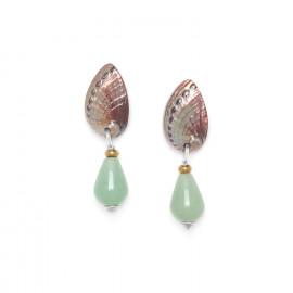 aventurine drop earrings with haliotis top Water lily - Nature Bijoux