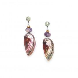 haliotis earrings with quartz top Water lily - Nature Bijoux