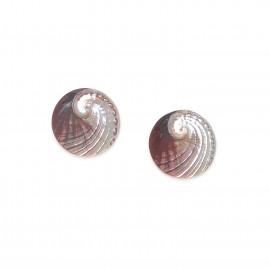 haliotis round post earrings Water lily - Nature Bijoux
