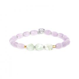 bracelet extensible améthyste & quartz Water lily - Nature Bijoux