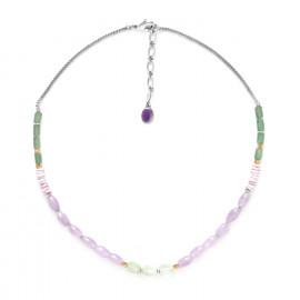 amethyst, aventurine & quartz necklace Water lily - Nature Bijoux