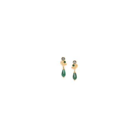 jade drop dangle post ER(verte) Becky
