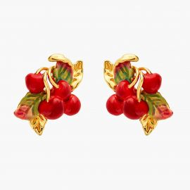 Boucles d'oreilles tiges cerise et feuilles Exquise cerise -