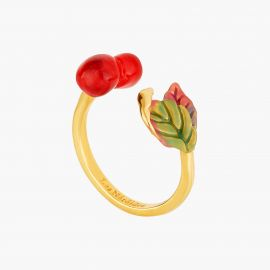Cherry and leaves adjsutable ring Exquise cerise -