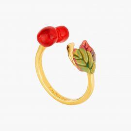 Cherry and leaves adjsutable ring Exquise cerise - Les Néréides