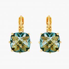 Boucles dormeuses pierre carrée La Diamantine acqua azzura La diamantine -