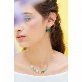 La Diamantine acqua azzura round stone sleeper earrings La diamantine -