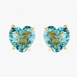 Boucles tiges pierre coeur La Diamantine acqua azzura La diamantine -