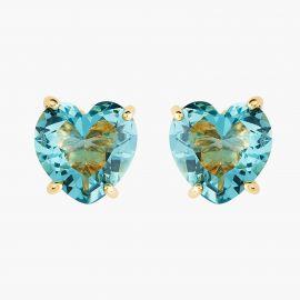 La Diamantine acqua azzura heart stone post earrings La diamantine -