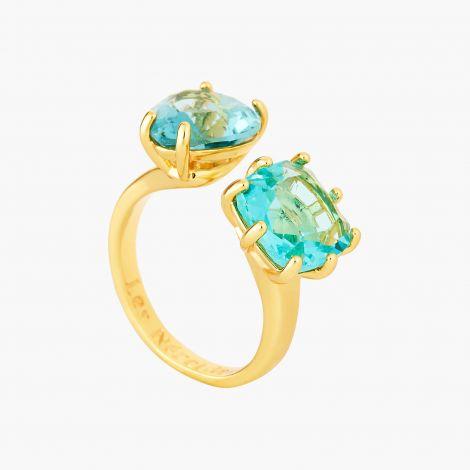 La Diamantine Acqua Azzura adjustable ring with heart and square stones La diamantine