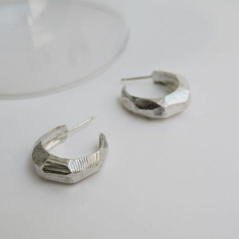 Silver Hoops Facet